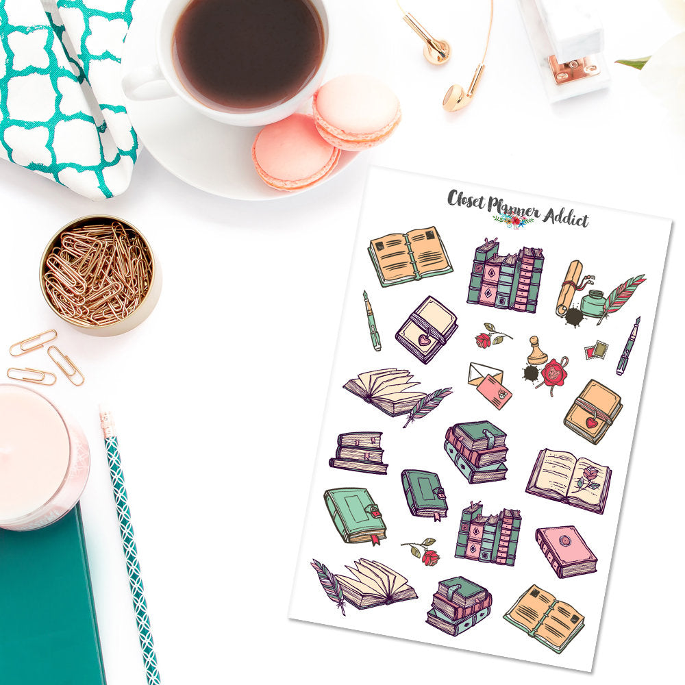 Vintage Books Planner Stickers (S-316)