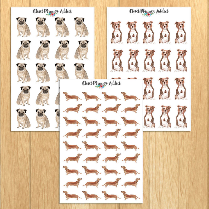 Watercolour Dogs Planner Stickers (S-324)