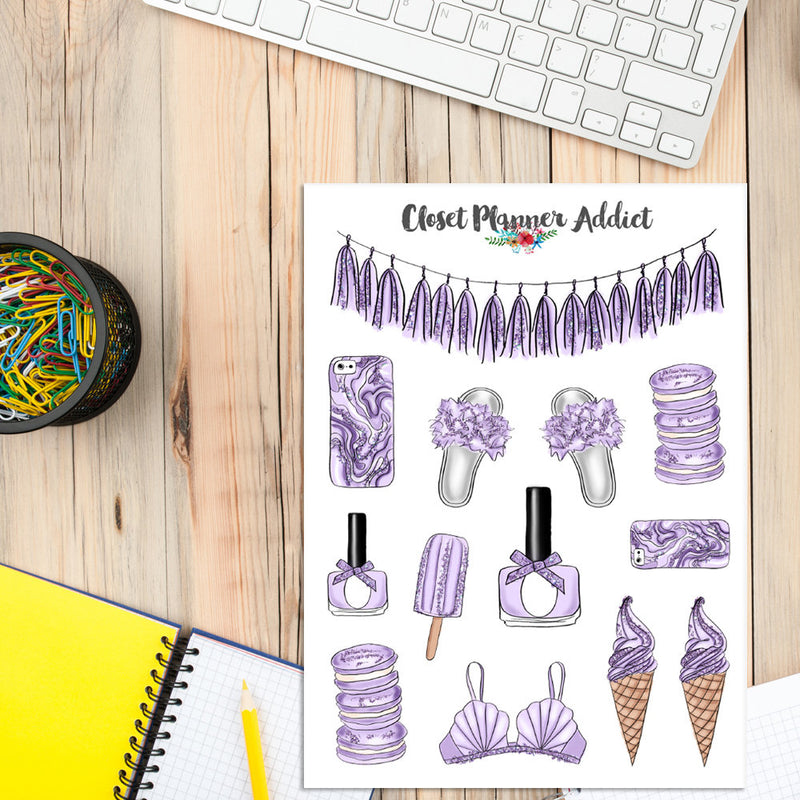 Lavender Lifestyle Planner Stickers (S-318)