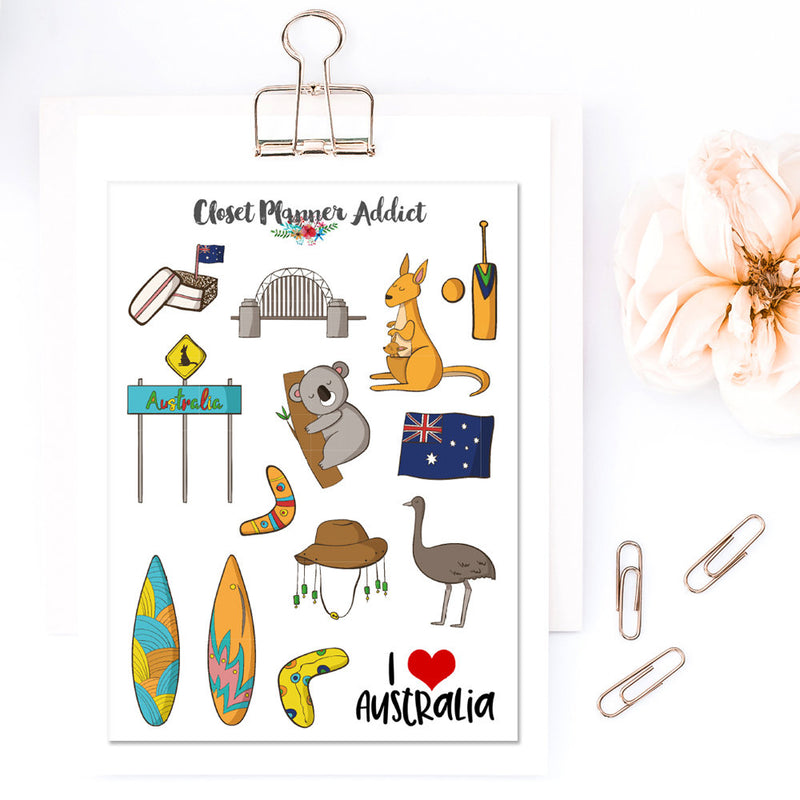 I Love Australia Travel Planner Stickers (S-320)