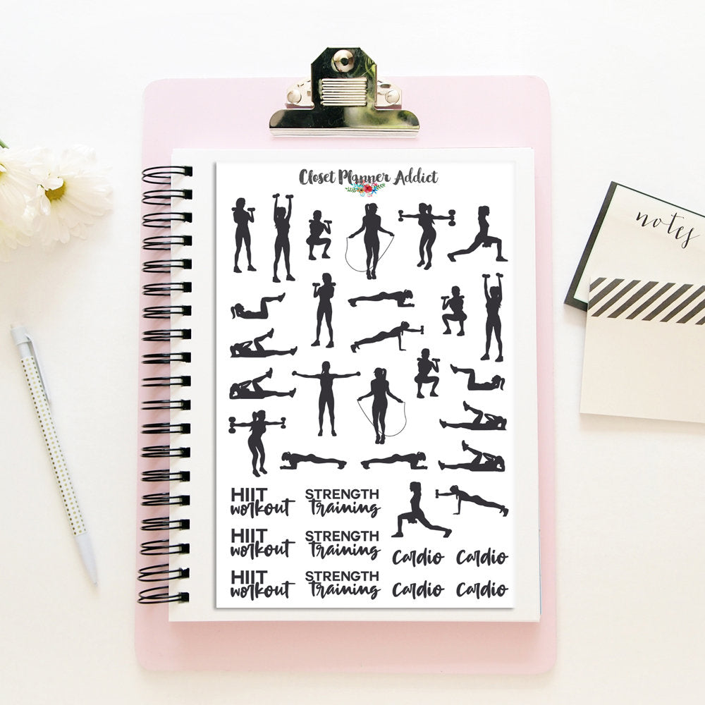 Workout Exercise and Fitness Planner Stickers (S-322)