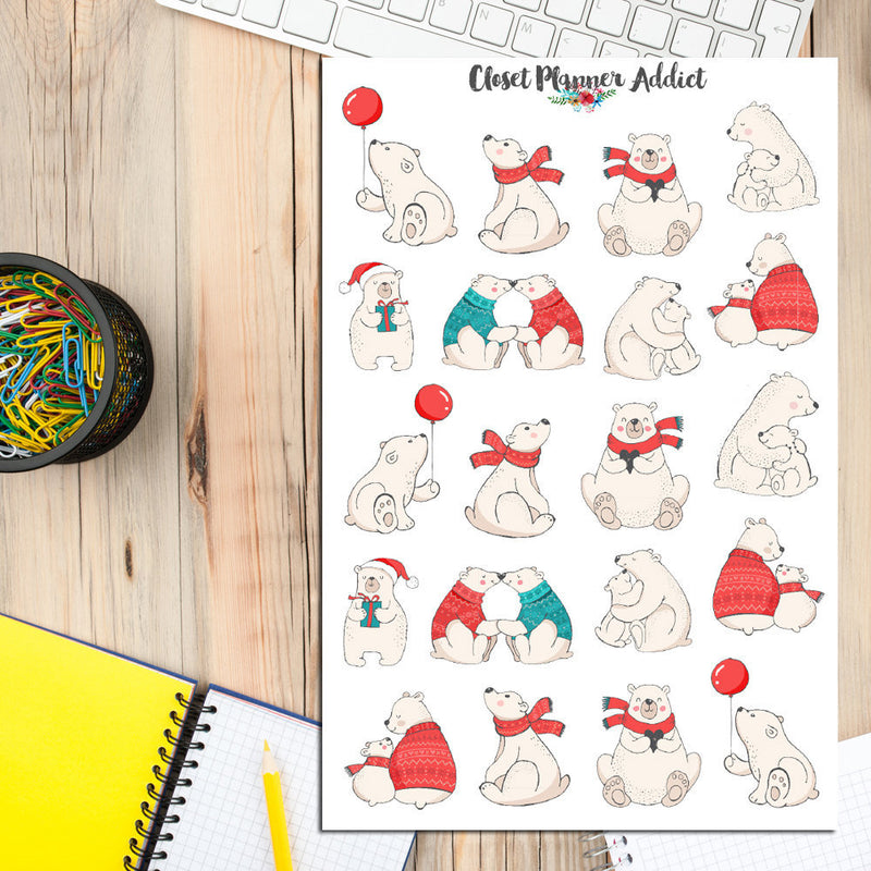Cute Winter Bears Planner Stickers (S-208)