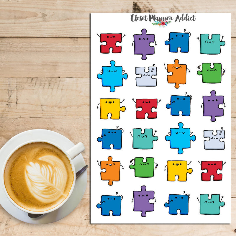 Kawaii Jigsaw Puzzle Planner Stickers (S-054)