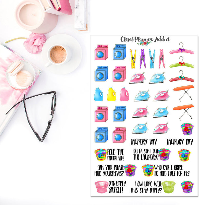 Laundry Day Planner Stickers (S-198)