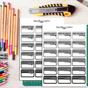 Monochromatic Planner Labels and Half Box Stickers (FP-017)