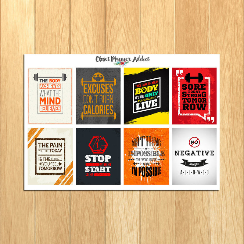 Motivational Fitness Quotes Planner Stickers (MS-004)