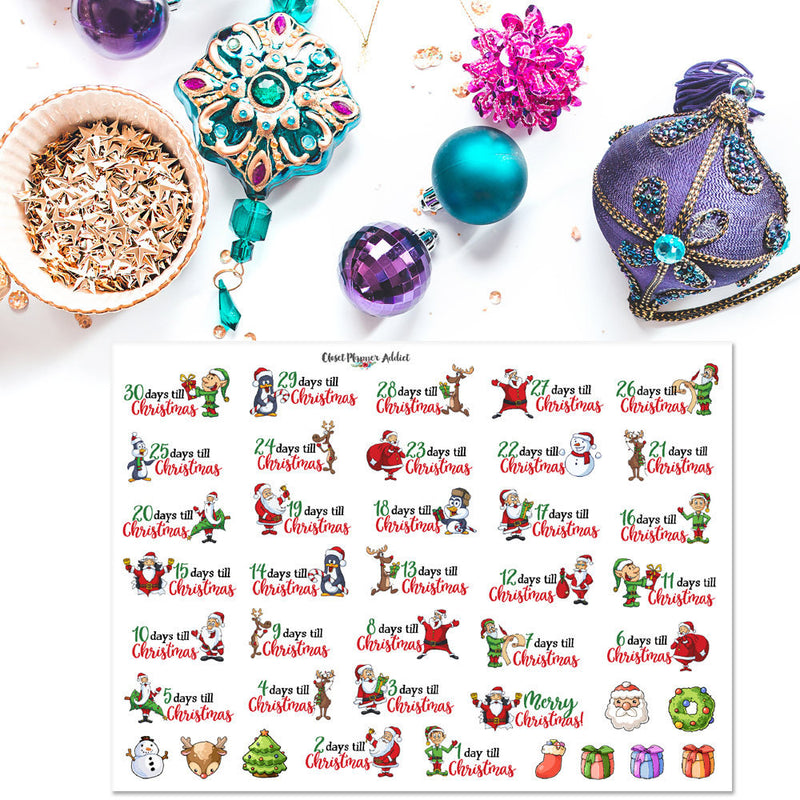 Cute Christmas Countdown Planner Stickers