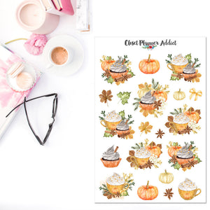 Watercolour Pumpkin Latte Planner Stickers (S-327)