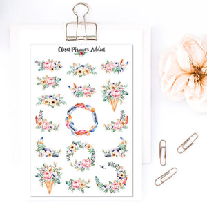 Watercolour Floral Bouquets Planner Stickers (S-328)
