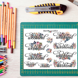 Watercolour Floral Weekend Planner Stickers (FP-014)