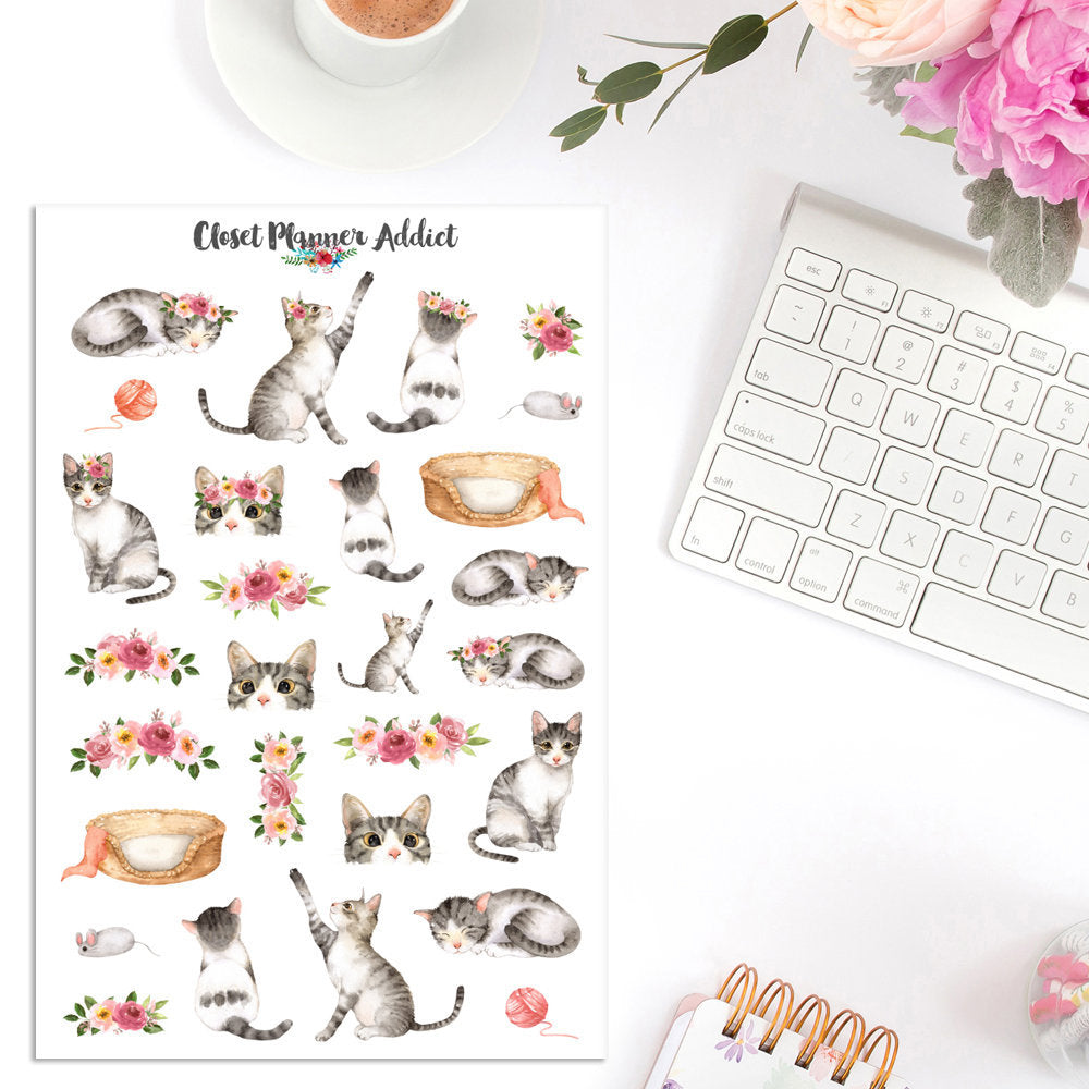 Watercolour Cats and Flowers Planner Stickers (S-334)