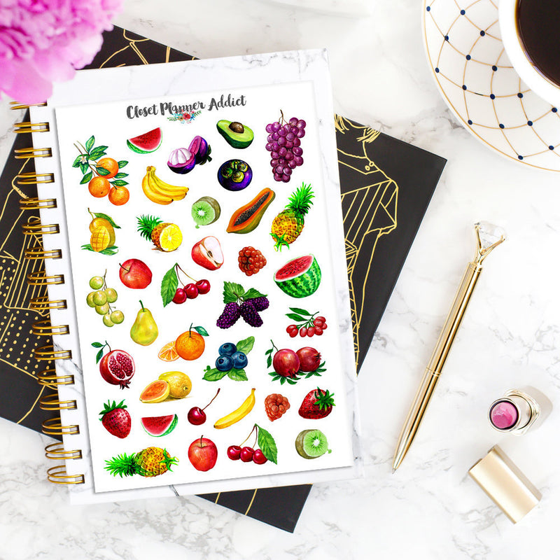 Watercolour Fruits Planner Stickers (S-335)