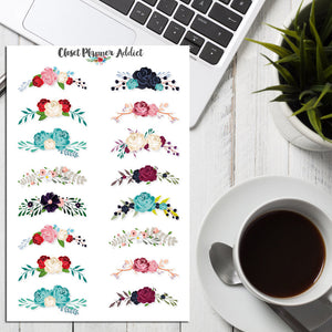 Floral Wreath Planner Stickers (S-175)