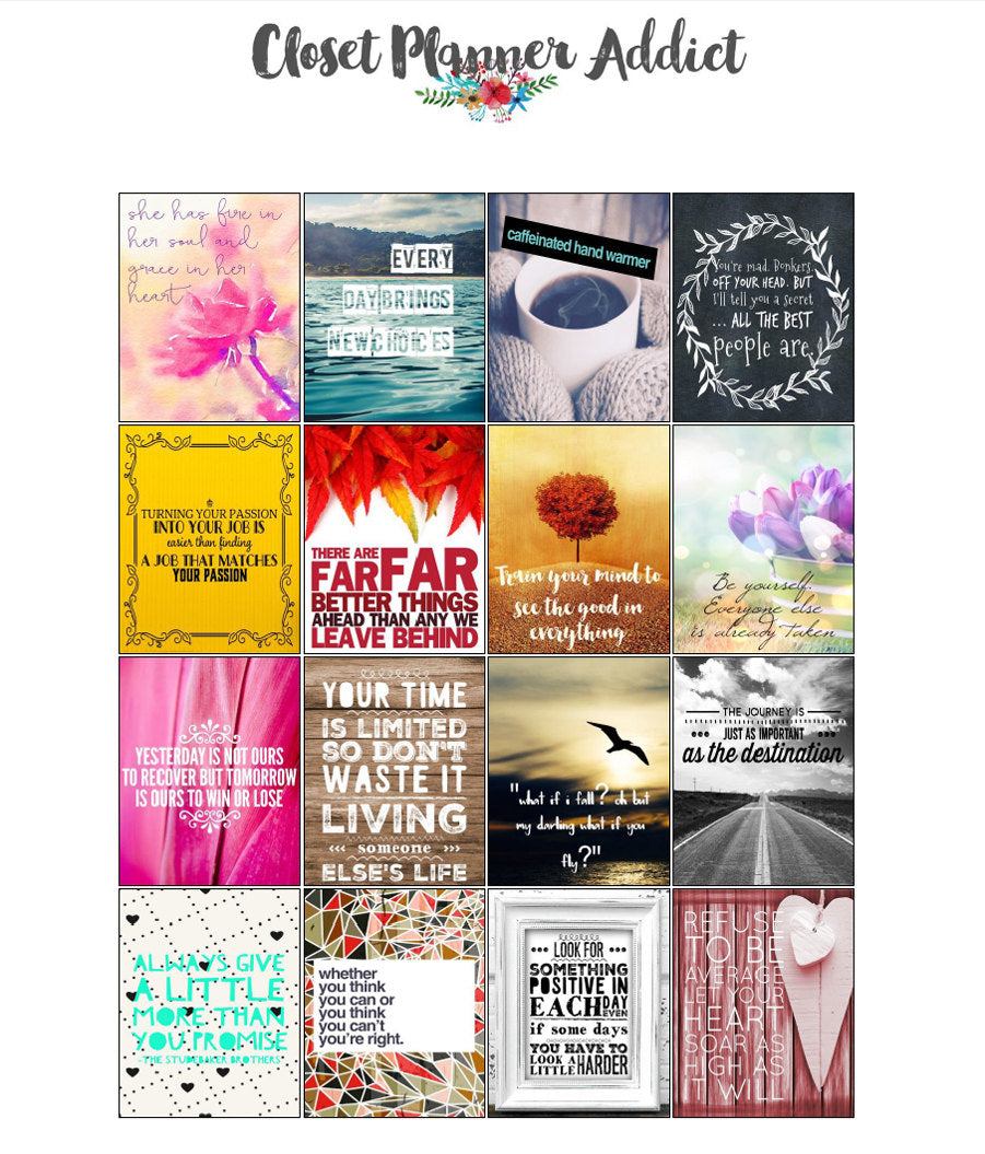 Printable Motivational & Inspirational Quotes Planner Stickers (M-004)