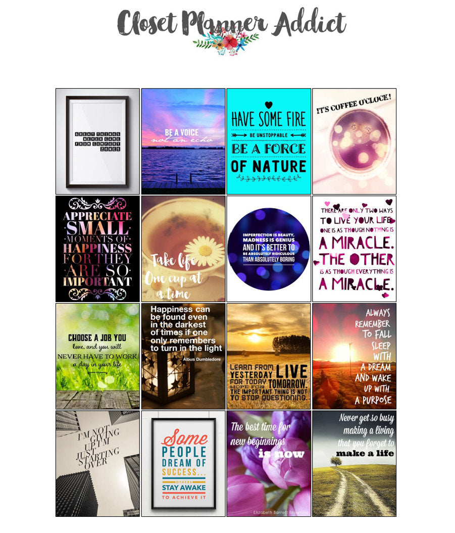 Printable Motivational & Inspirational Quotes Planner Stickers (M-009)