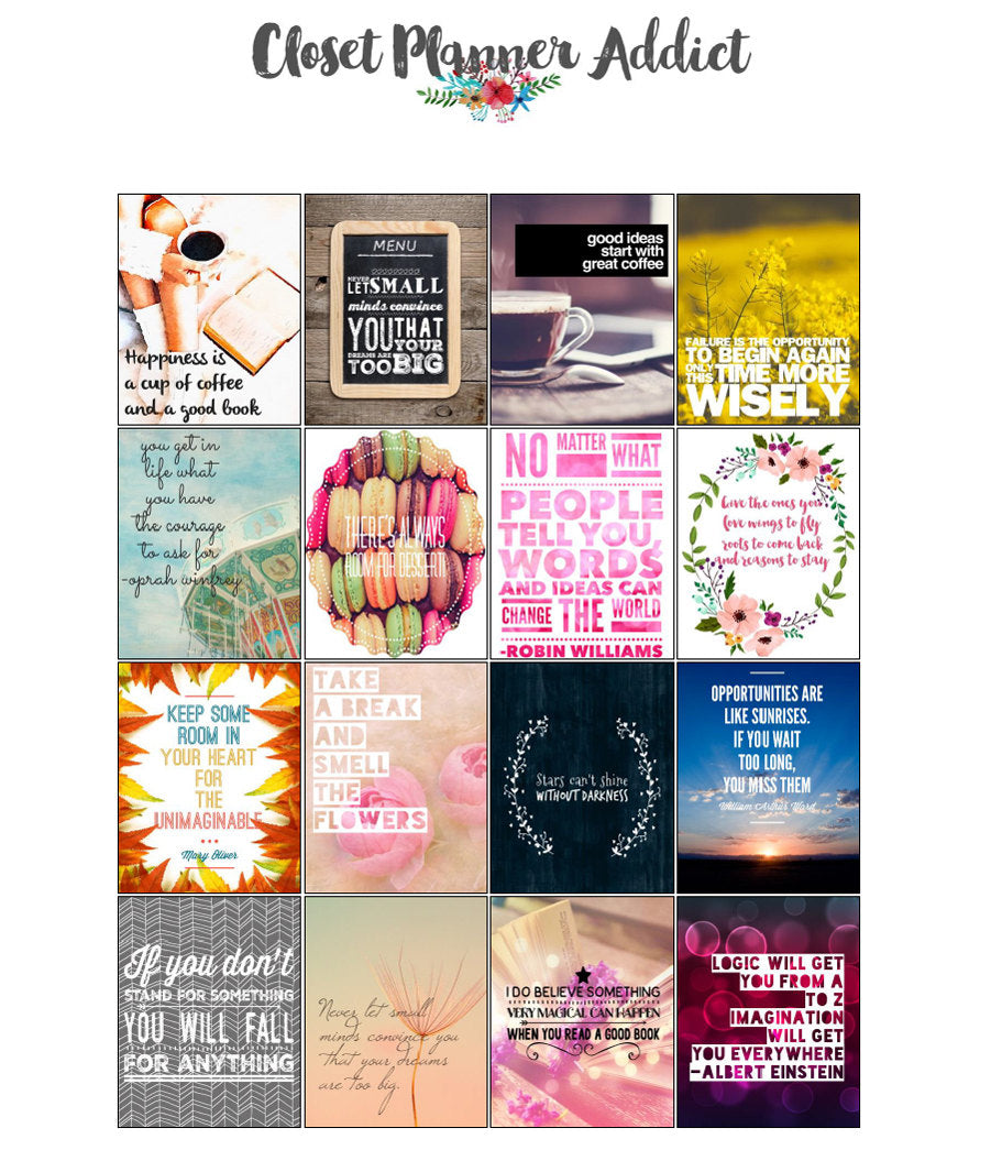 Printable Motivational & Inspirational Quotes Planner Stickers (M-005)