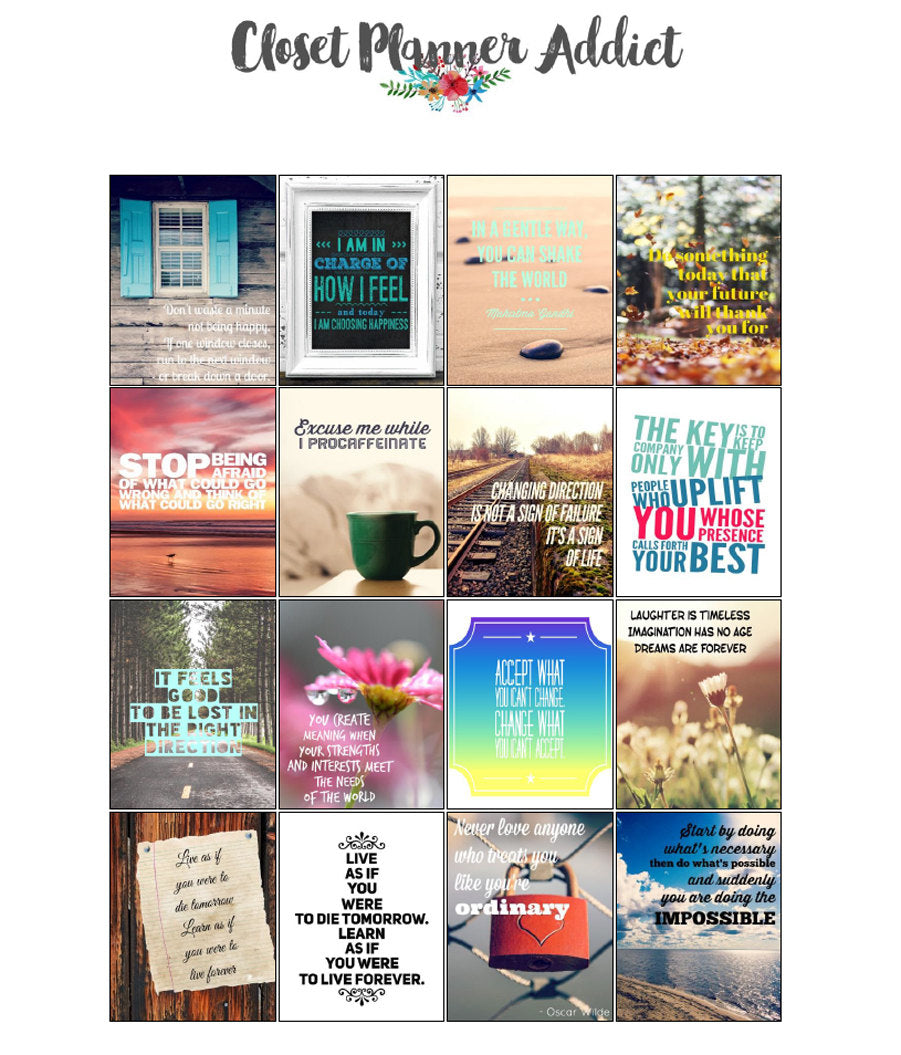 Printable Motivational & Inspirational Quotes Planner Stickers (M-016)