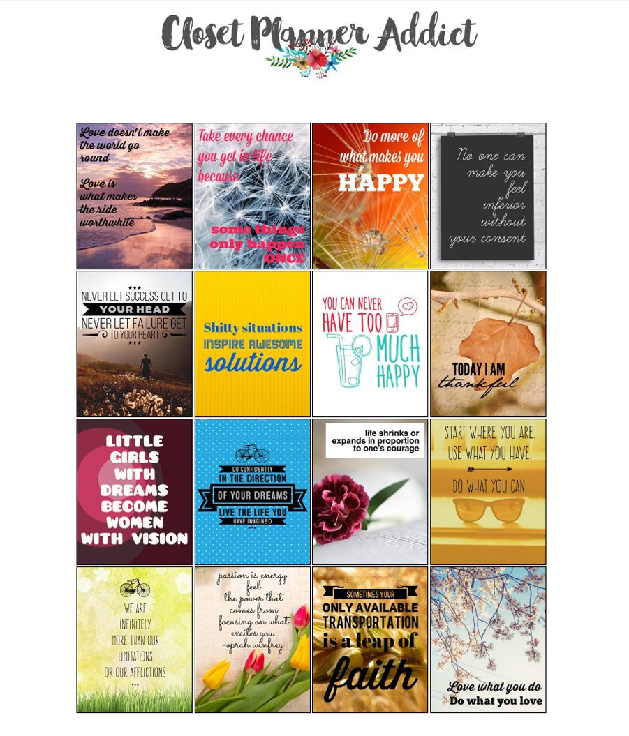 Printable Motivational & Inspirational Quotes Planner Stickers (M-014)