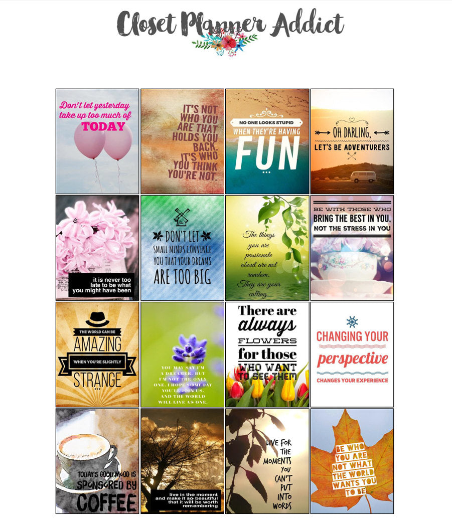 Printable Motivational & Inspirational Quotes Planner Stickers (M-015)