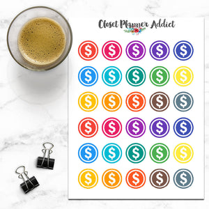 Dollar Sign Icons Planner Stickers (I-007)
