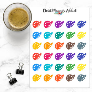 Paintbrush & Easel Art Icon Planner Stickers (I-017)
