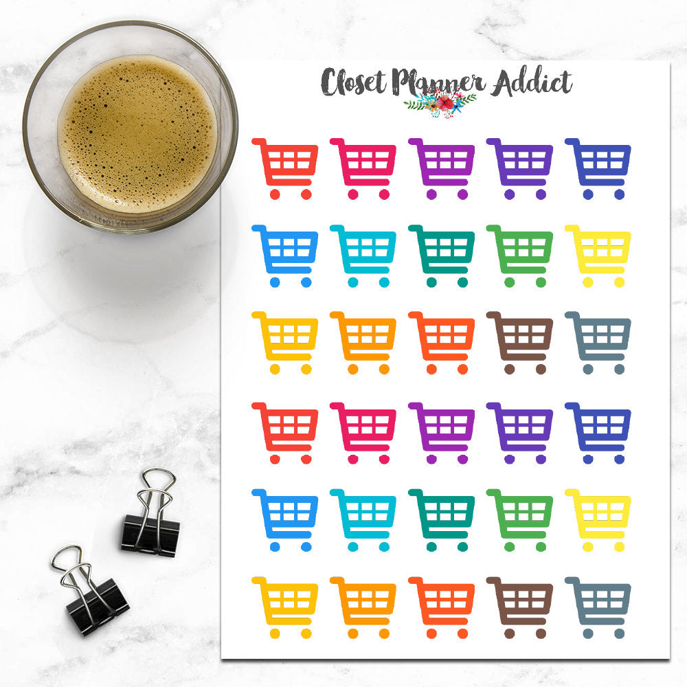 Shopping Cart Icon Planner Stickers (I-021)