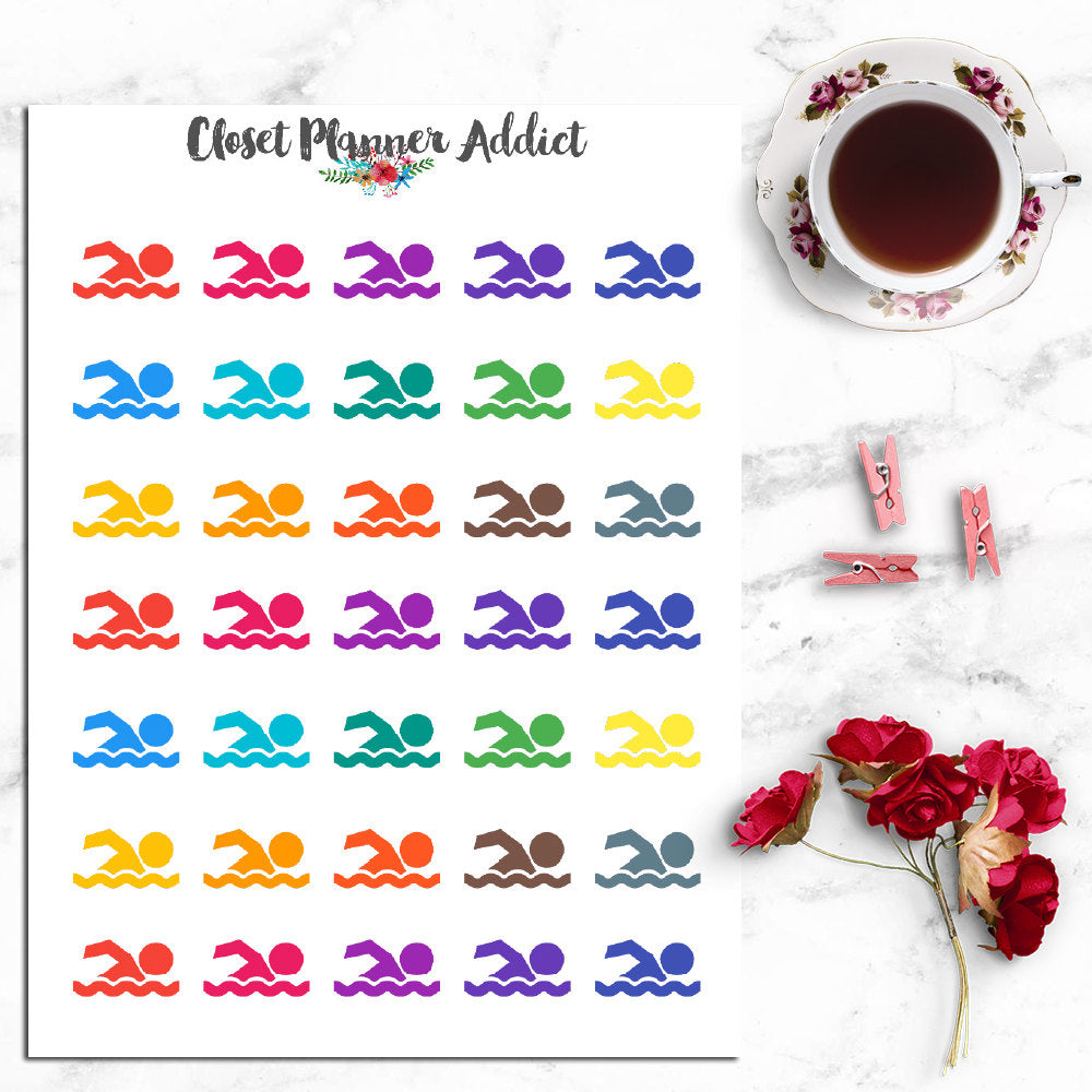 Swimming Icons Planner Stickers (I-022)