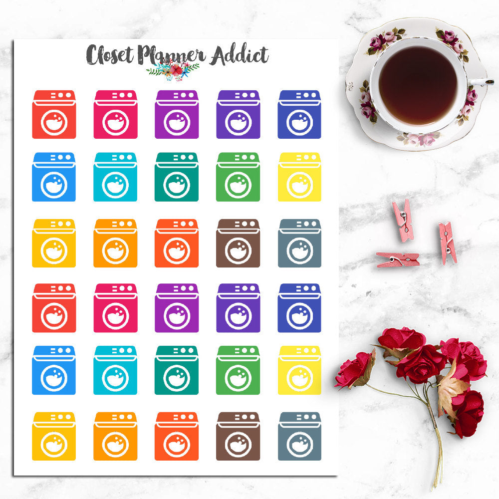 Washing Machine Laundry Icons Planner Stickers (I-026)