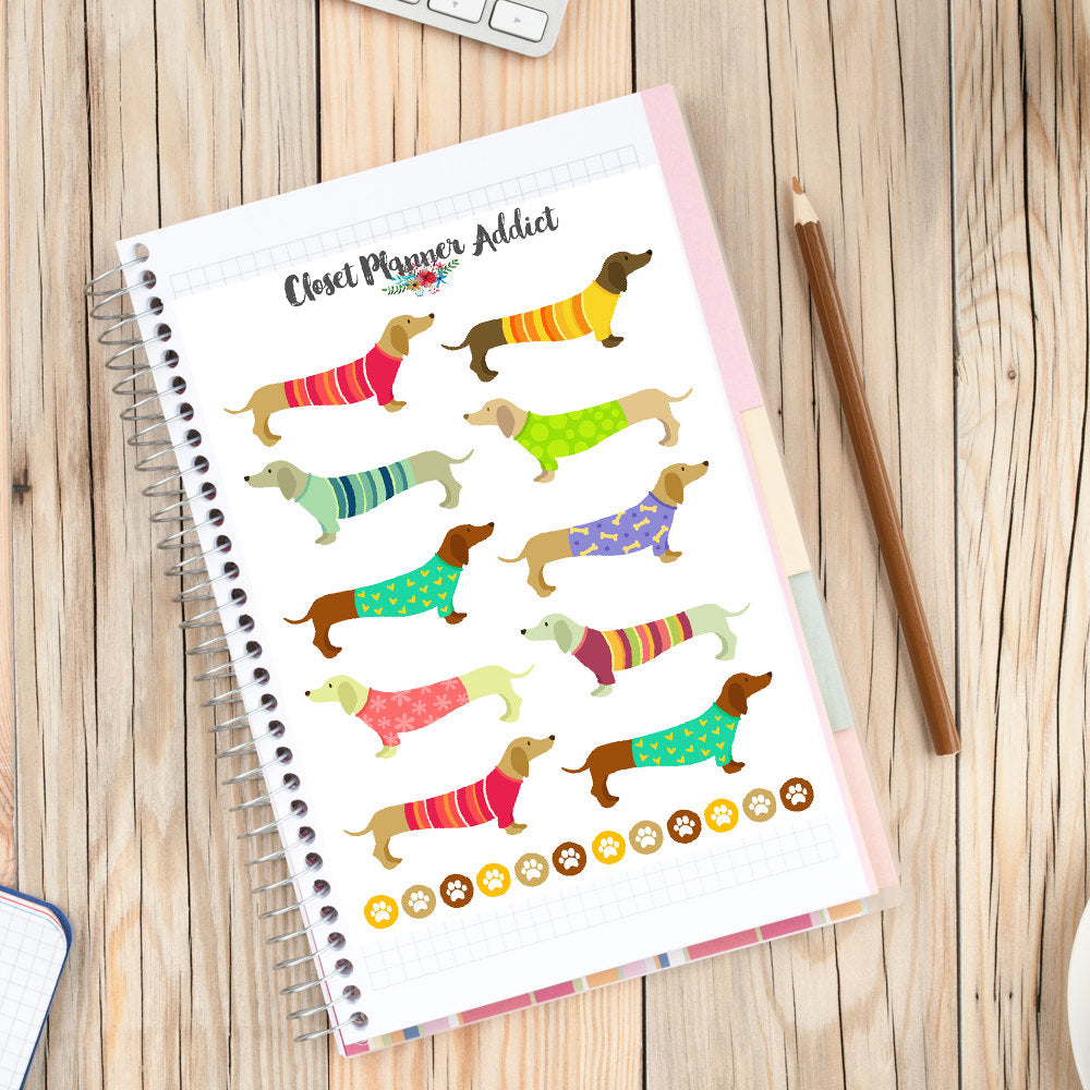 Dachshunds in Sweaters Planner Stickers