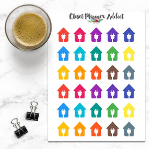 House Electricity Icons Planner Stickers | Bills Due (I-035)