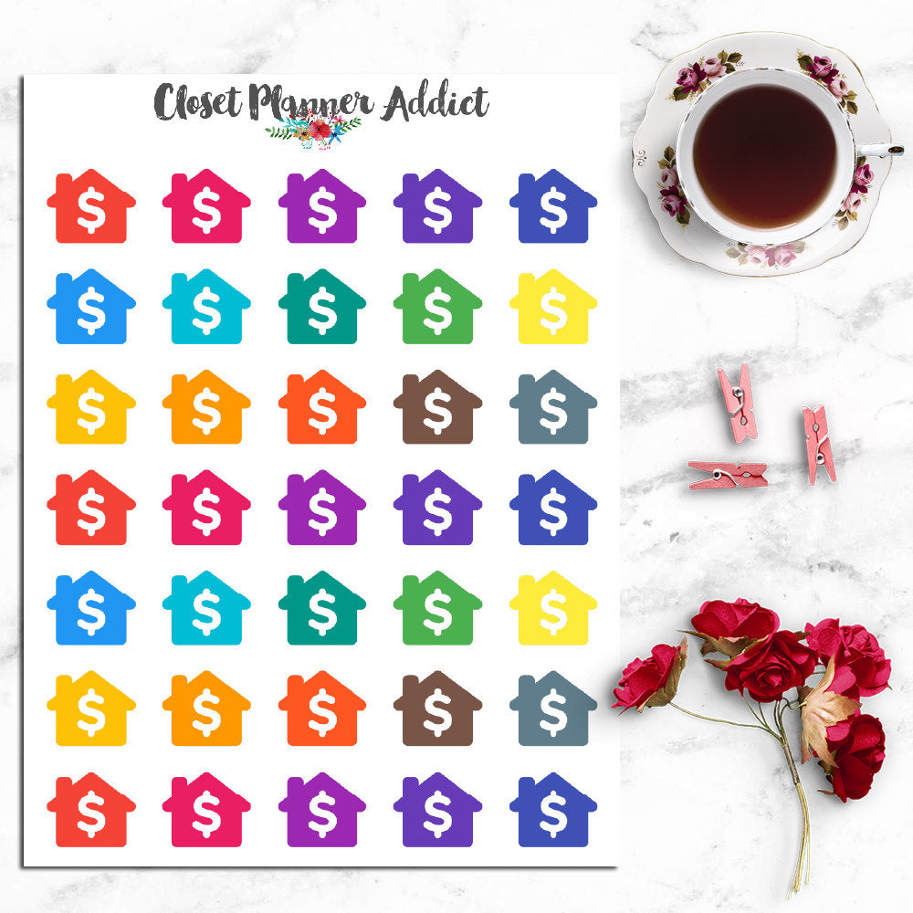 House Rent / Mortgage Due Planner Stickers (I-034)