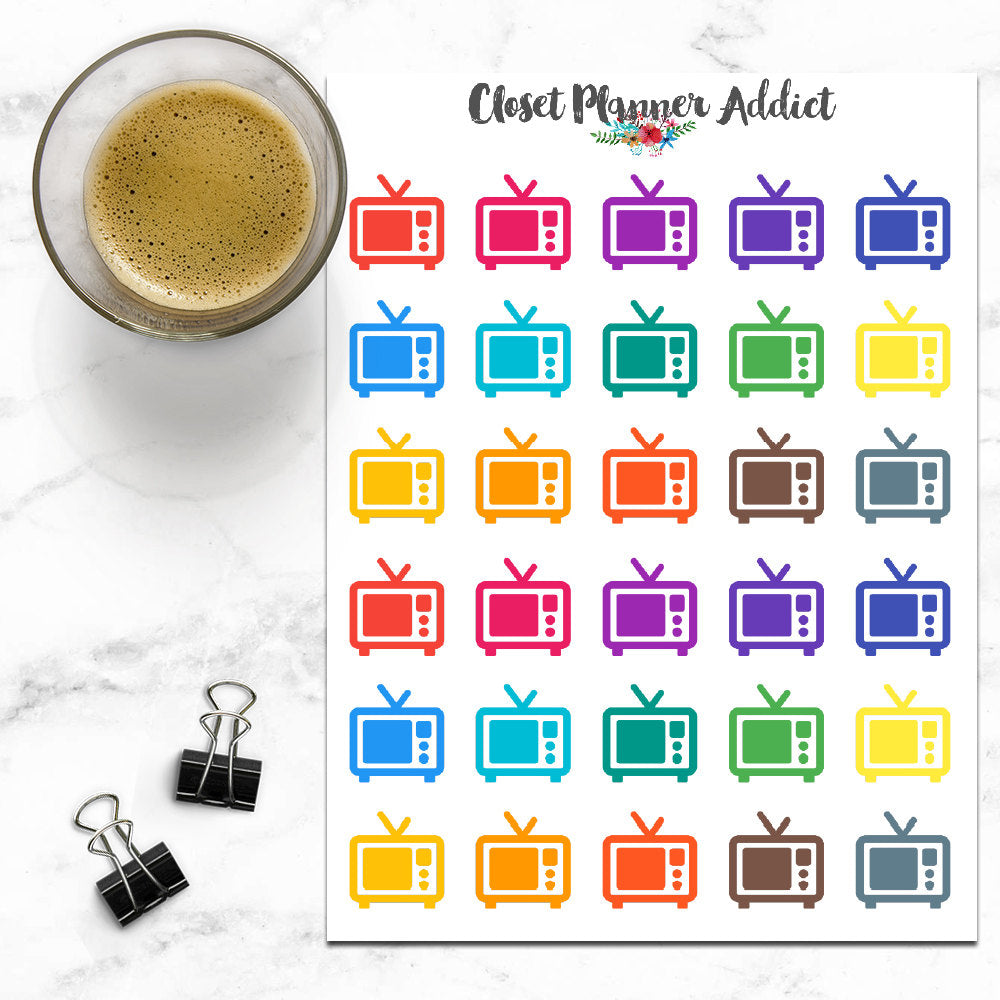 Television Icons Planner Stickers (I-043)