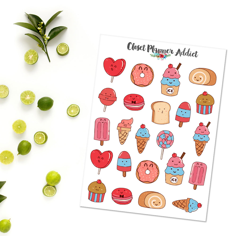 Kawaii Ice Cream and Cake Planner Stickers (S-363)