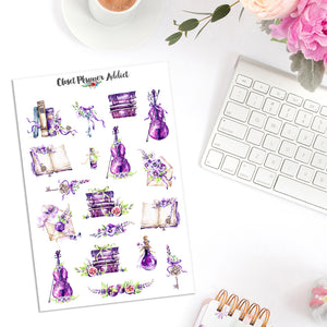 Violet Books and Violins Planner Stickers (MGB-APR18)