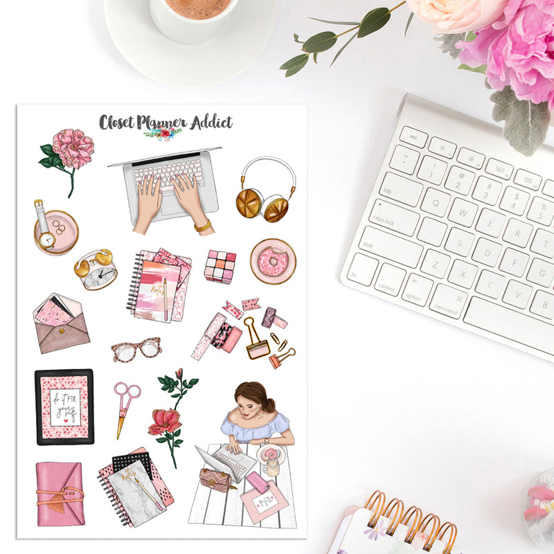 Pink Lifestyle Planner Stickers (MGB-MAY19)