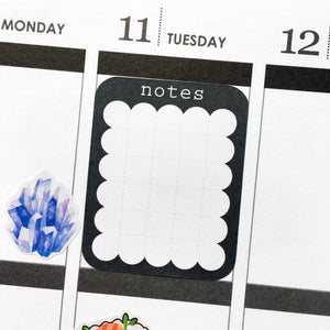 Scalloped Notes with Grid Planner Stickers (FP-022)
