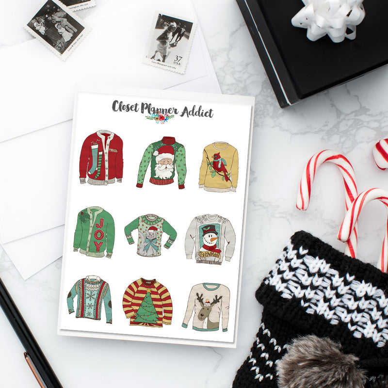 Ugly Christmas Sweaters Planner Stickers (S-356)