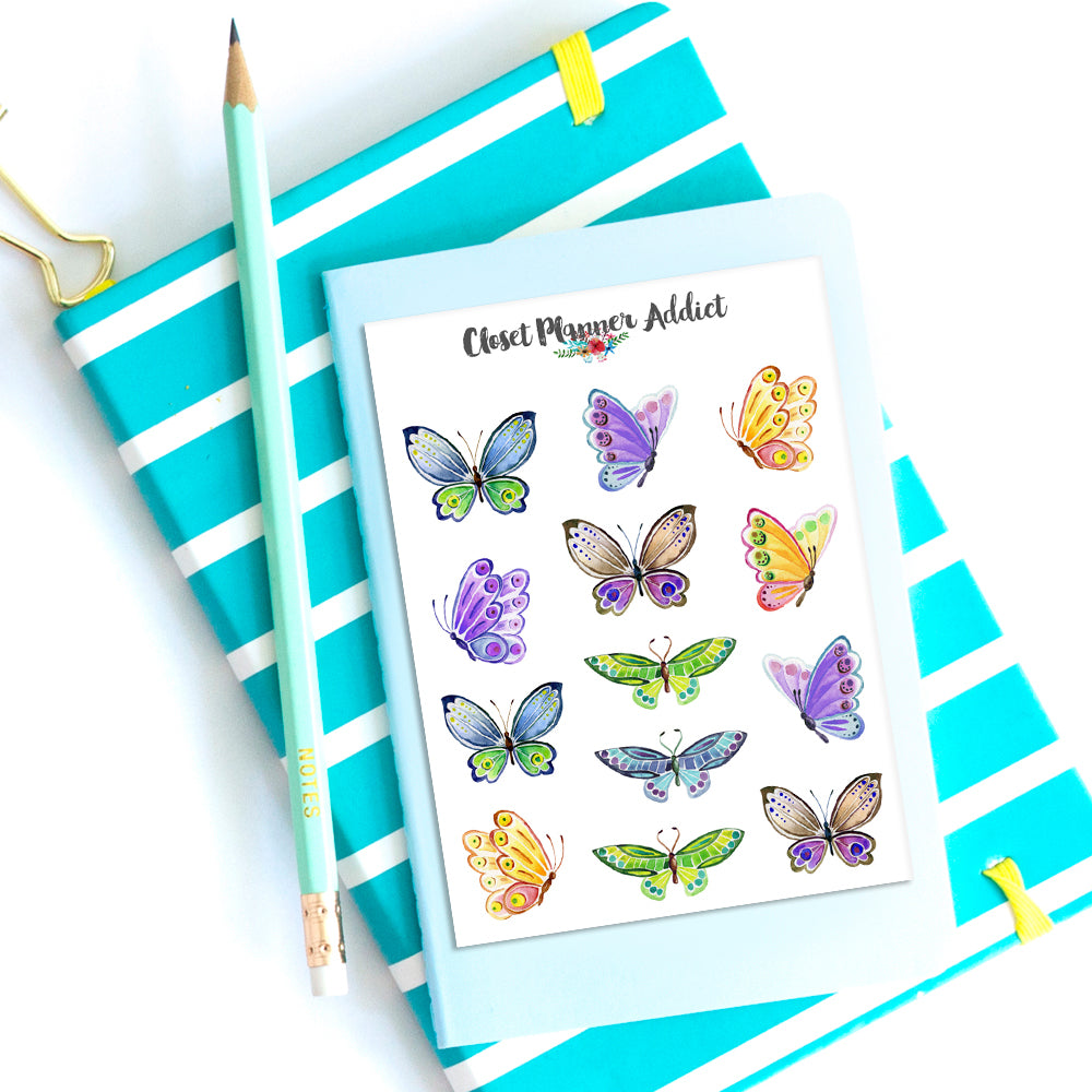 Watercolour Butterflies Planner Stickers (S-365)