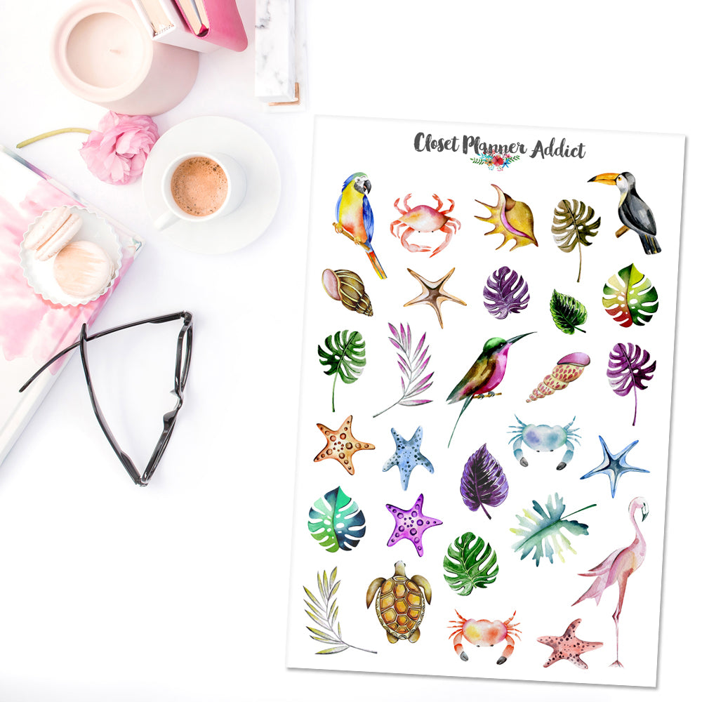 Watercolour Tropicana Planner Stickers (S-366)