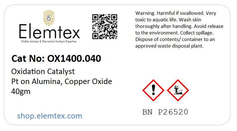 OX1400, Oxidation Catalyst Pt on Alumina Copper Oxide