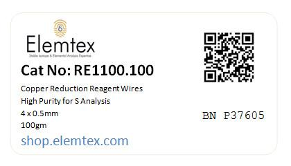 RE1100, Copper Wires Reduced 4x0.5mm, Fine Wires,  High Purity for Sulphur Analysis