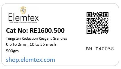 RE1600, Tungsten Reduction Reagent Granules 0.5 to 2mm, 10 to 35 mesh