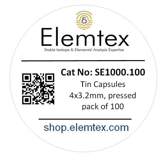 SE1000, Tin Capsules pressed 4 x 3.2mm, Standard Clean, 502-227