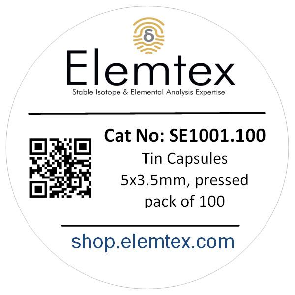 SE1001, Tin Capsules pressed 5 x 3.5mm, Standard Clean, 24005300, 05 003 395
