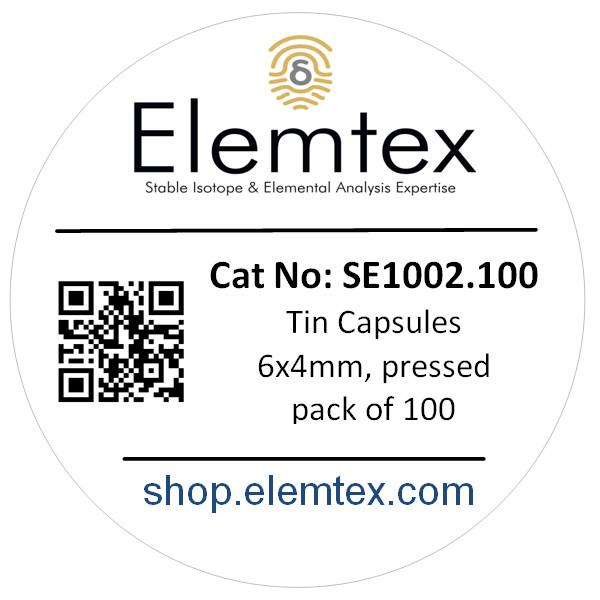 SE1002, Tin Capsules Pressed 6 x 4mm, Standard Clean