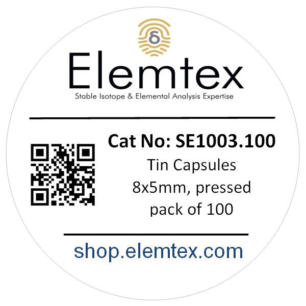 SE1003, Tin Capsules Pressed 8x5mm, Standard Clean