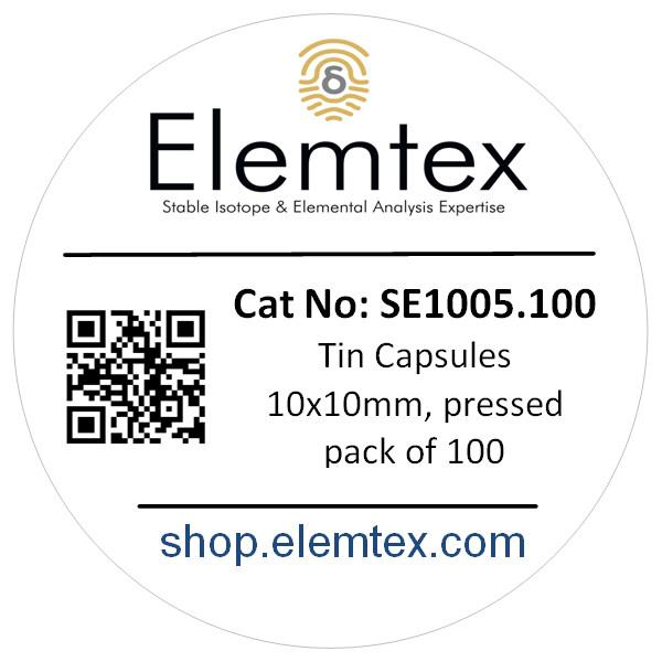 SE1005, Tin Capsules Pressed 10 x 10mm, Standard Clean