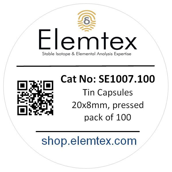 SE1007, Tin Capsules Pressed 20 x 8mm, Standard Clean