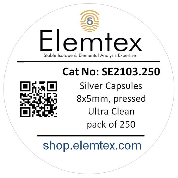 SE2103, Silver Capsules Pressed 8 x 5mm, Ultra Clean