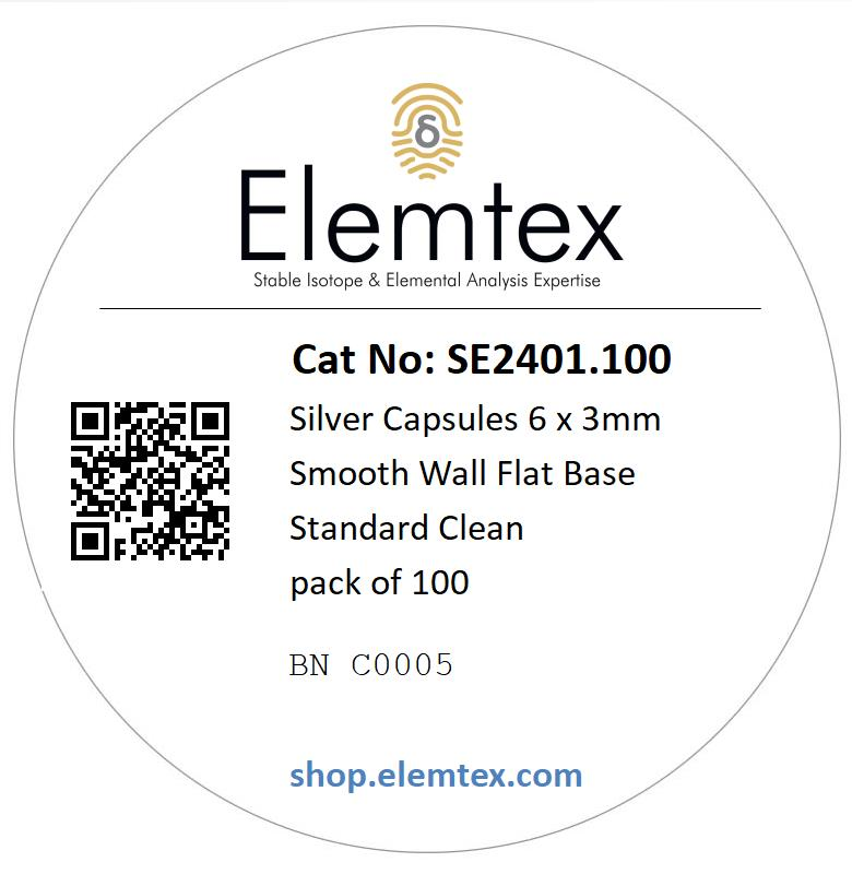 SE2401, Silver Capsules Smooth Wall Flat Base 6 x 3mm Standard Clean, pack of 100